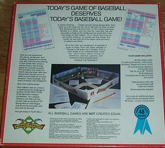 Pursue The Pennant Baseball Boardgame